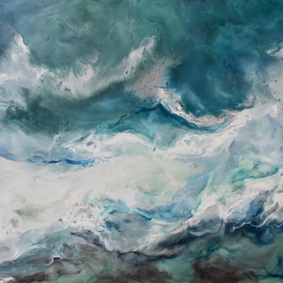 At the Shore Life Line, 24x52, encaustic on canvs, hi res