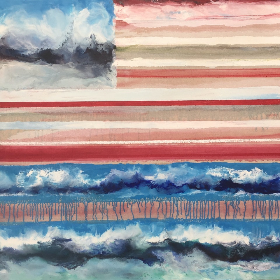 Oil and Encaustic on Linen Beloved Country, 48x44, encaustic and oil on linen, hi res