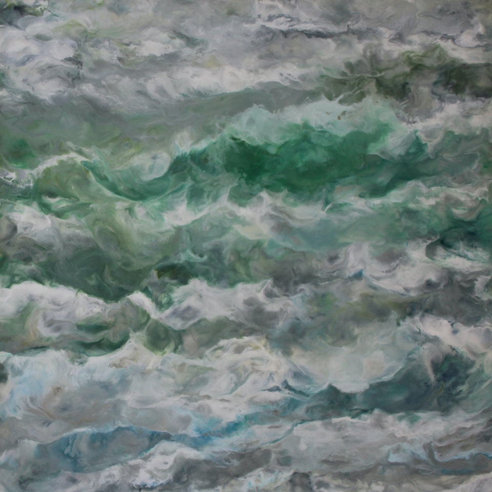 Chicago 2020 Ruth Hamill, Walk on the Beach, 44x44, encaustic on canvas, $5200