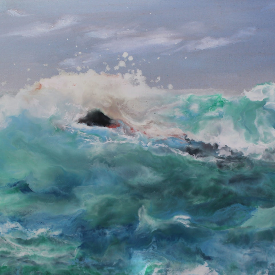 Encaustic and Oil on Linen Swimming Away From The Wave, 20x38, encasutic and oil on linen