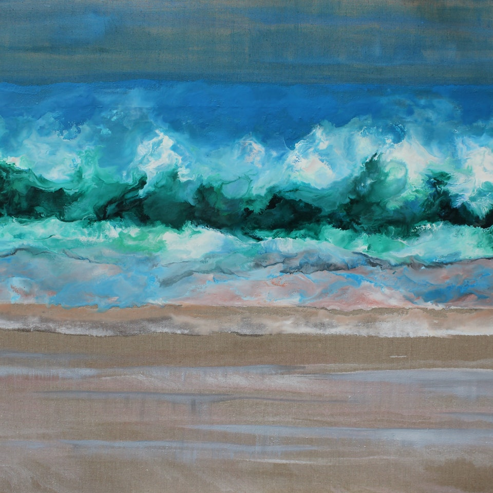 Encaustic and Oil on Linen Toes in the Sand, 34x60, encaustic and oil on linen,