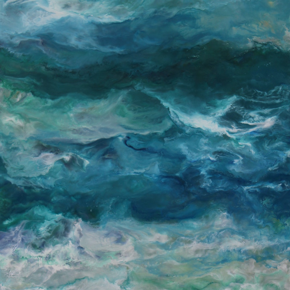 On Canvas Ruth Hamill 300, Swim, 60x34, encaustic on canvas, $6900