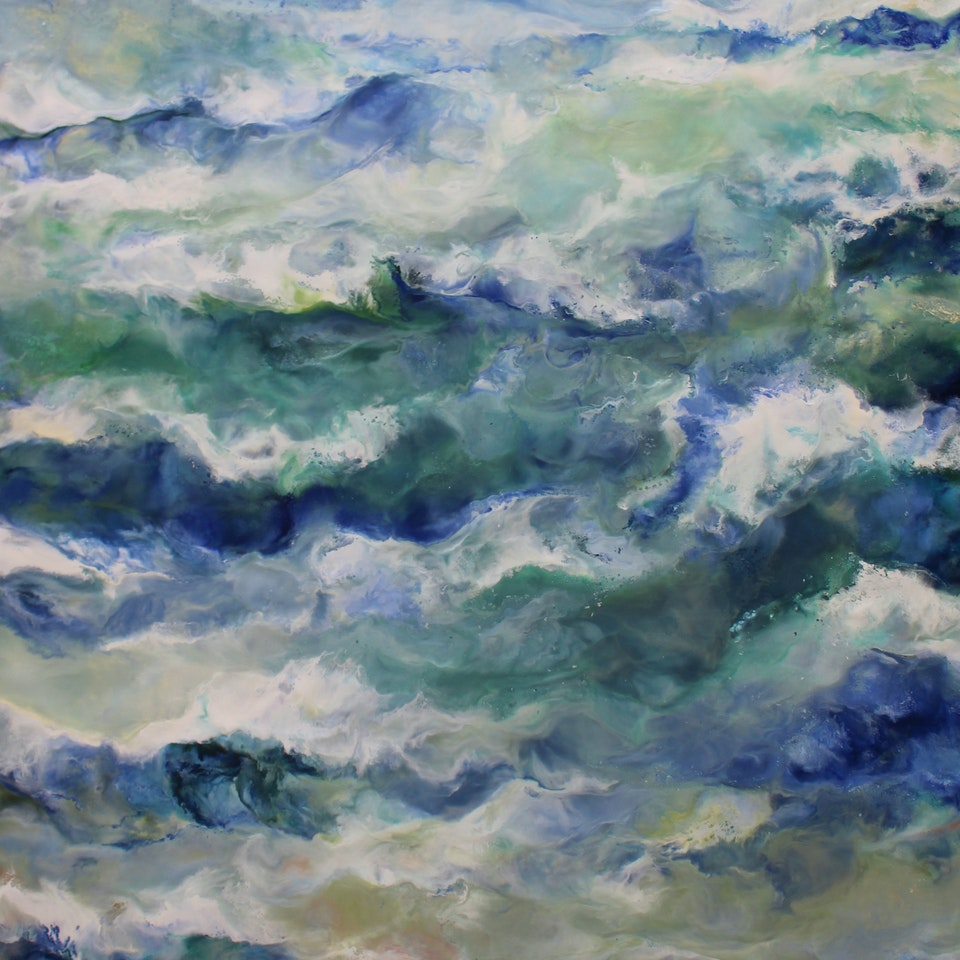 On Canvas Ruth Hamill, That's Where I'll Be, 50x32, encaustic on canvas, $5500