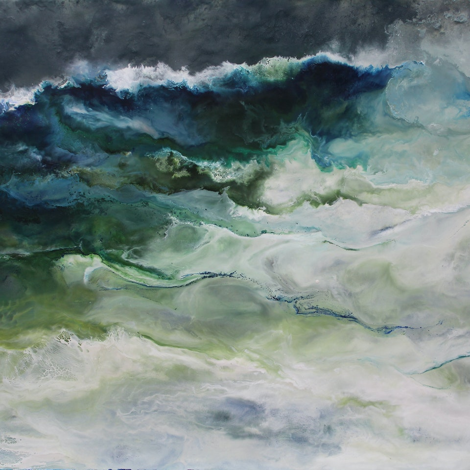 Chicago 2020 Ruth Hamill 300, Breaking Wave, 20x30, encaustic on canvas, $3300