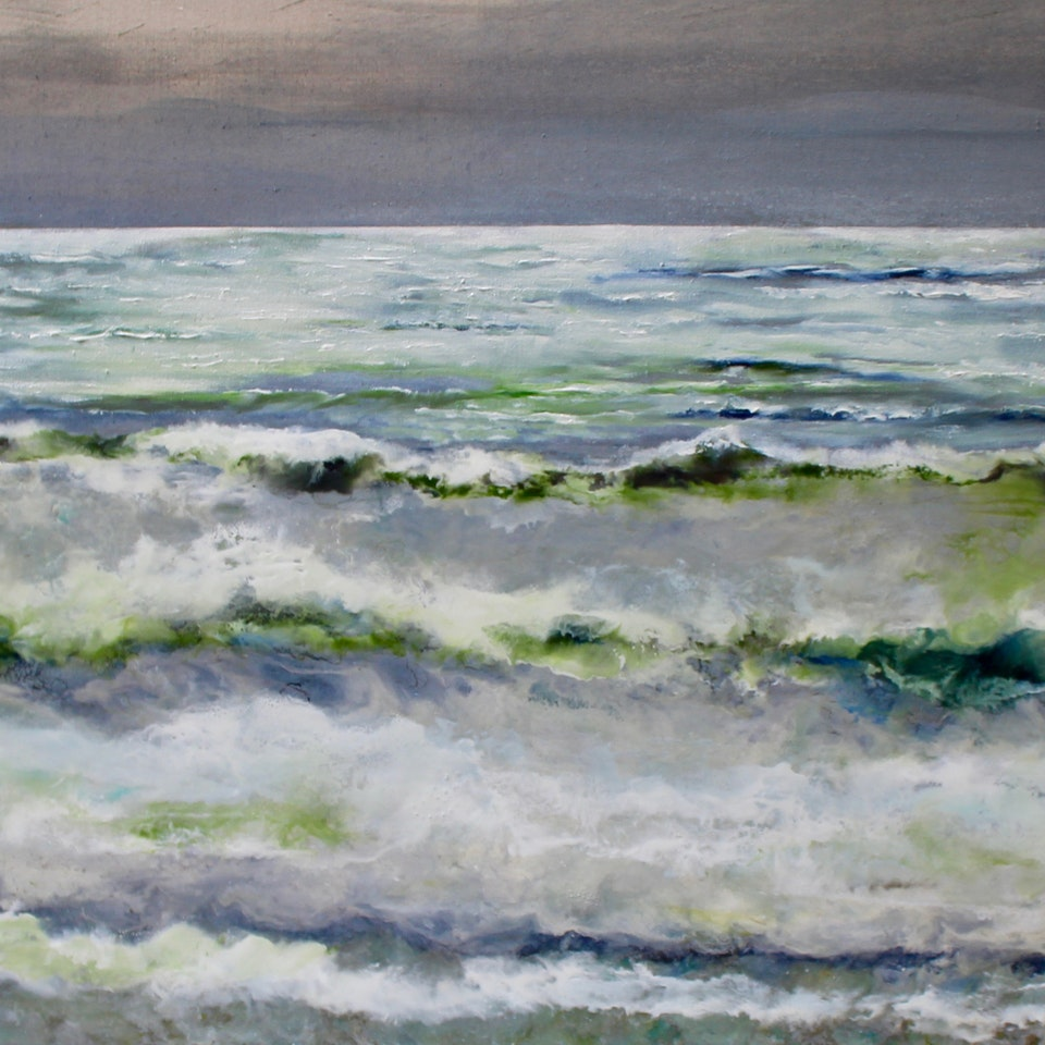 Chicago 2020 R Hamill, A Distant Light, 34x66, Encaustic and Oil on Linen, $7400