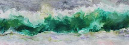 Ruth Hamill - Sea Change, 24x66, Encaustic on Canvas