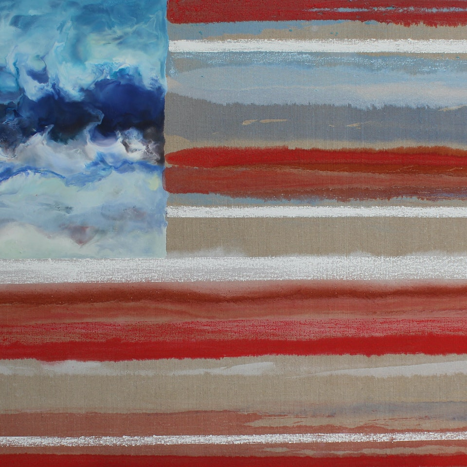Oil and Encaustic on Linen Oh Say Can You Sea, 36x66, encaustic and oil on linen