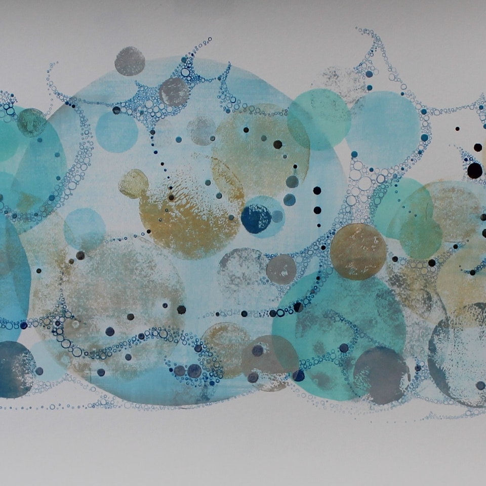 Various Inks on Paper Ruth Hamill, 2017, Rising, 17x55, intaglio and calligraphy inks, gouache and watercolor on paper (48)