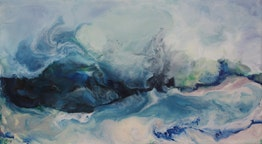 Ruth Hamill - Sea Breeze, 10x18, encaustic on canvas