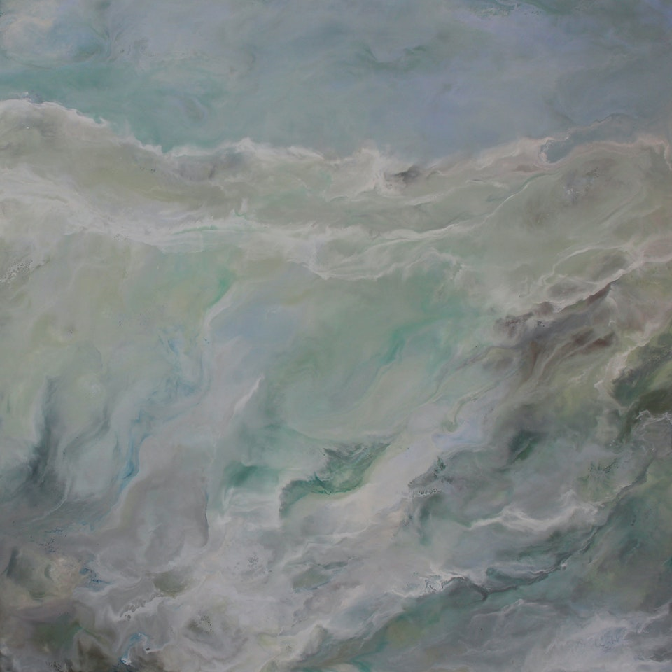 On Canvas Ruth Hamill, Tranquility, 24x24, encaustic on canvas, $2550