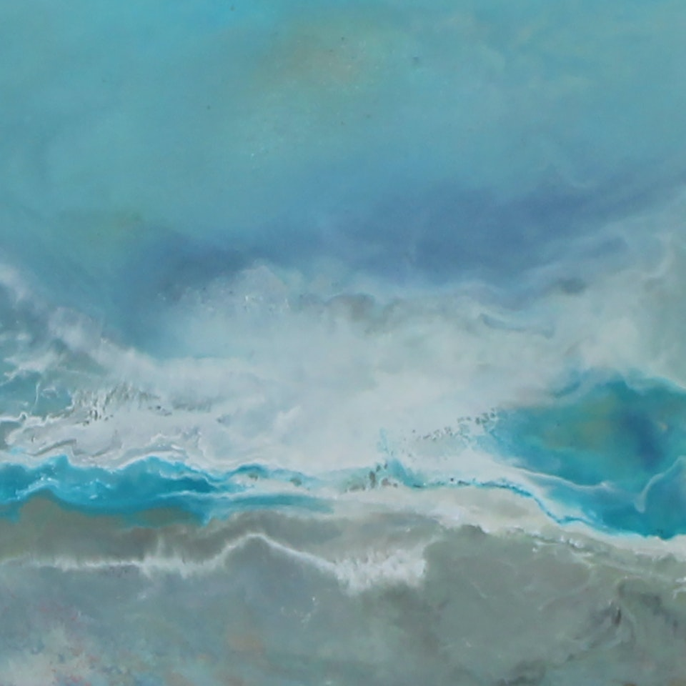 On Canvas Ruth Hamill 300, Breathe Deep, encaustic on canvas, 8x42, $2450