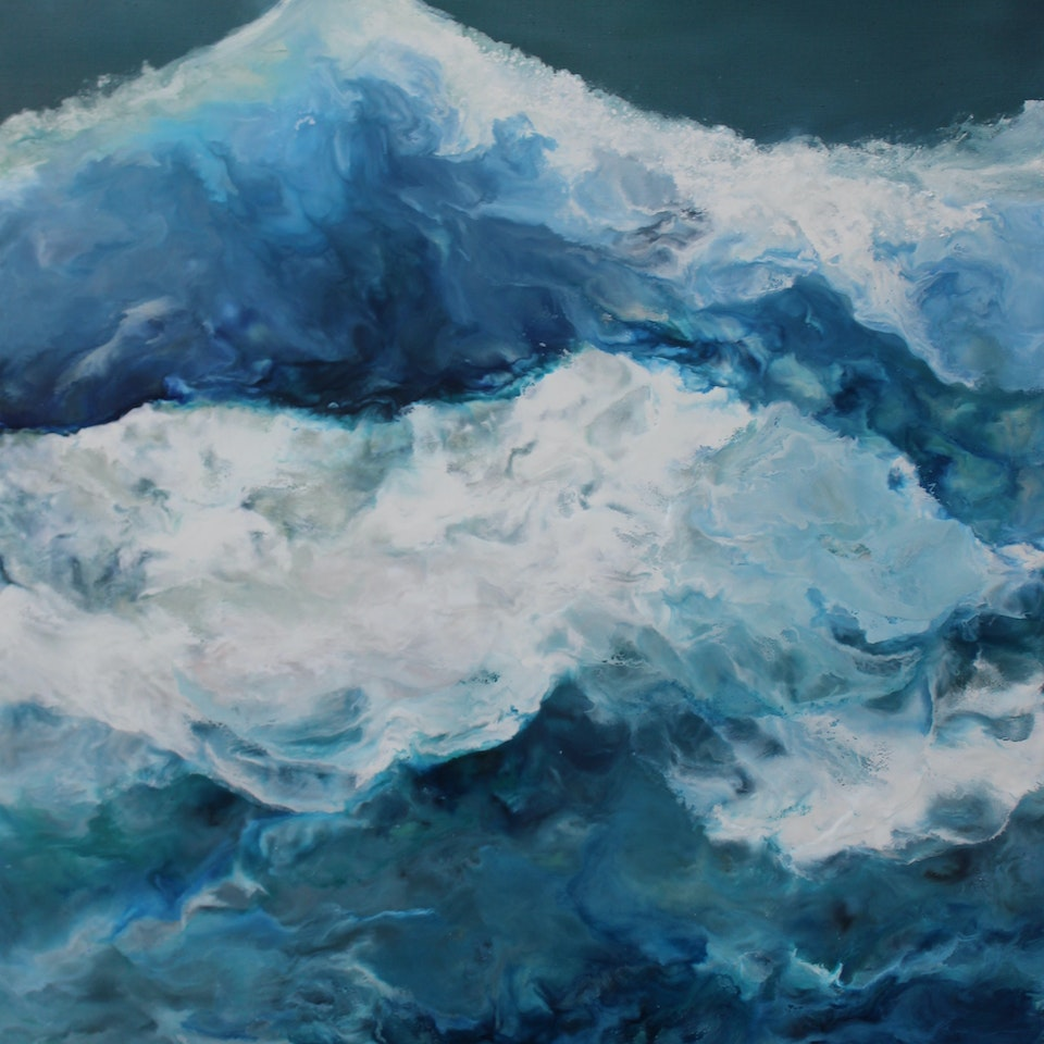 At the Shore Get Rhythm When You Get the Blues, triptych 2, 60x40 (overall 60x120), encaustic and oil on linen, hi res