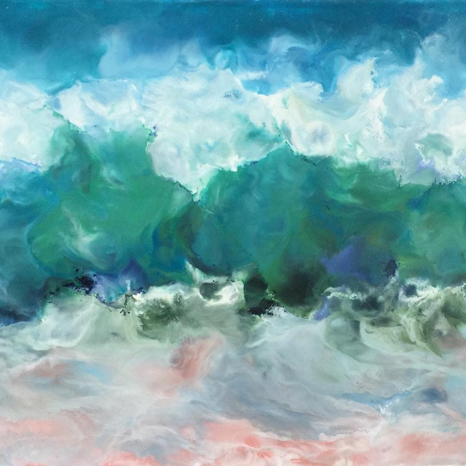 On Canvas Ruth Hamill, Sunny Skies, 22x52 encaustic on canvas, $5400