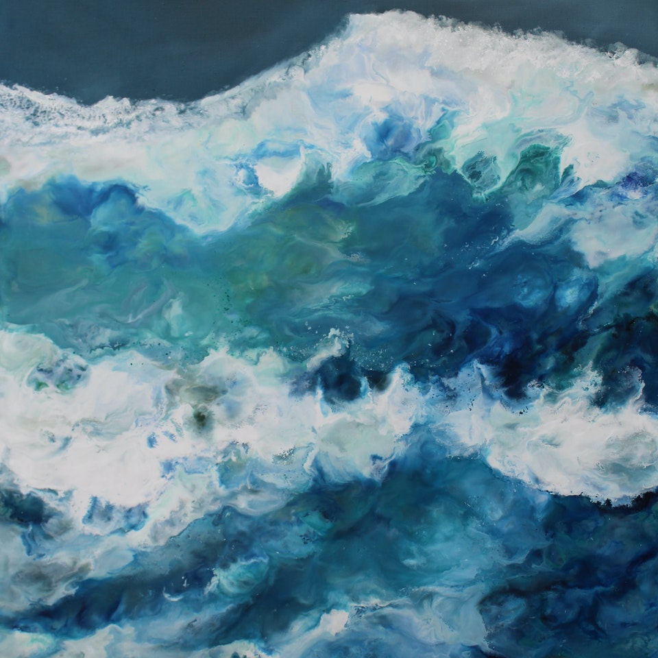 At the Shore Get Rhythm When You Get the Blues, triptych 3, 60x40 (oveall 60x120), encaustic and oil on linen, hi res