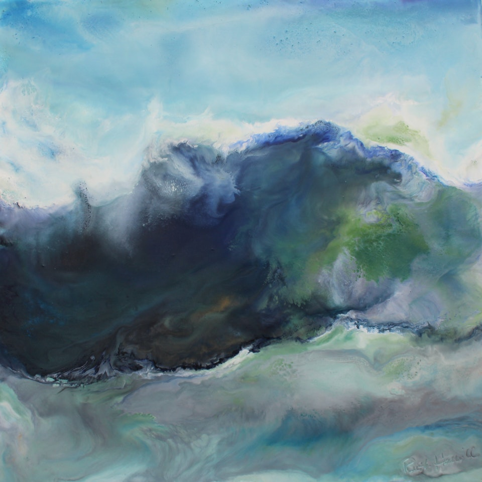 At the Shore Indomitable, 18x18, encaustic on canvas