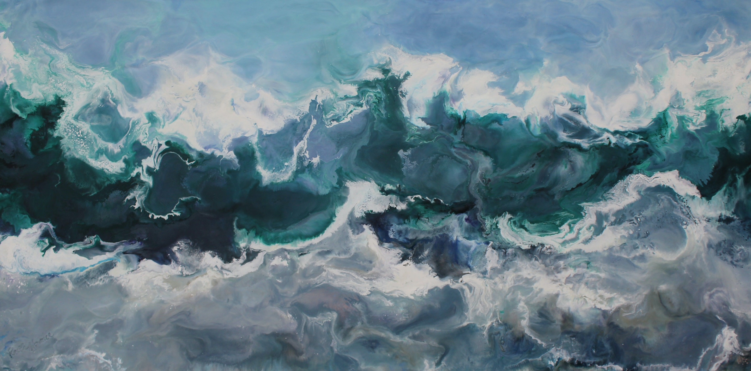 Ruth Hamill - High Tide, 18x36, encaustic on canvas, hi res