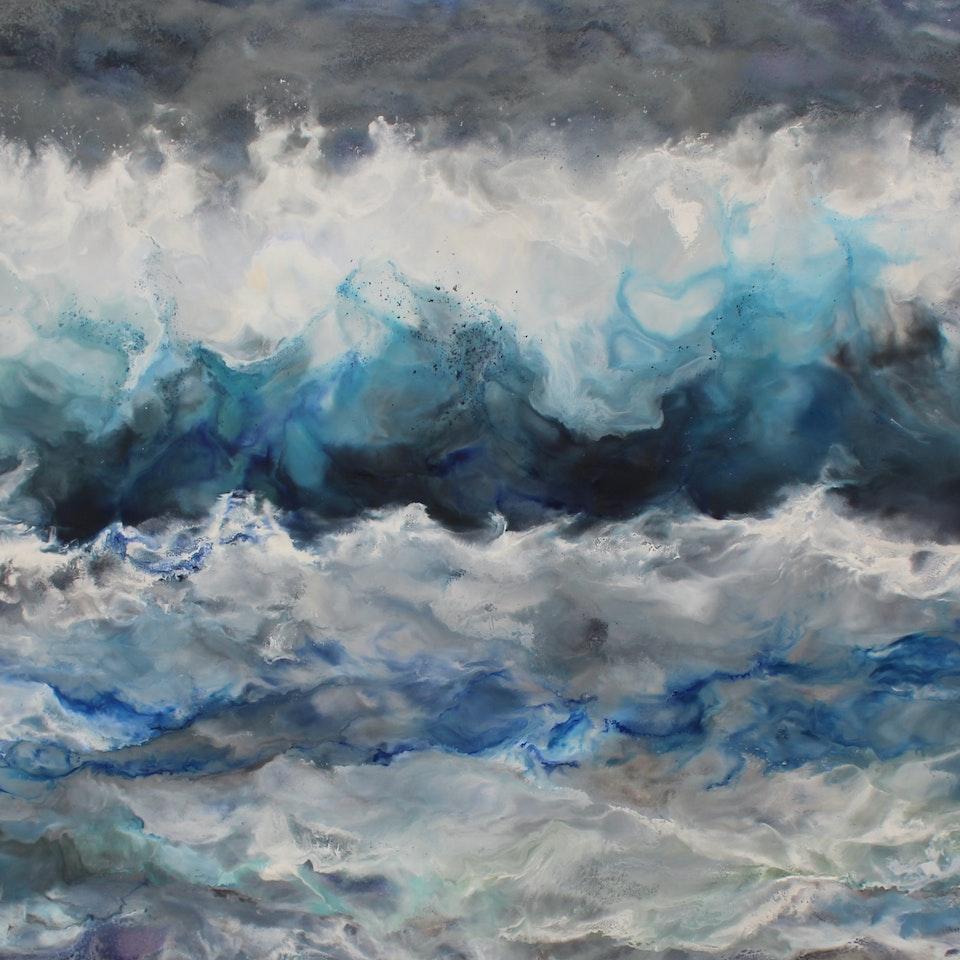 At the Shore Ocean, 35x66, encaustic on canvas, hi res