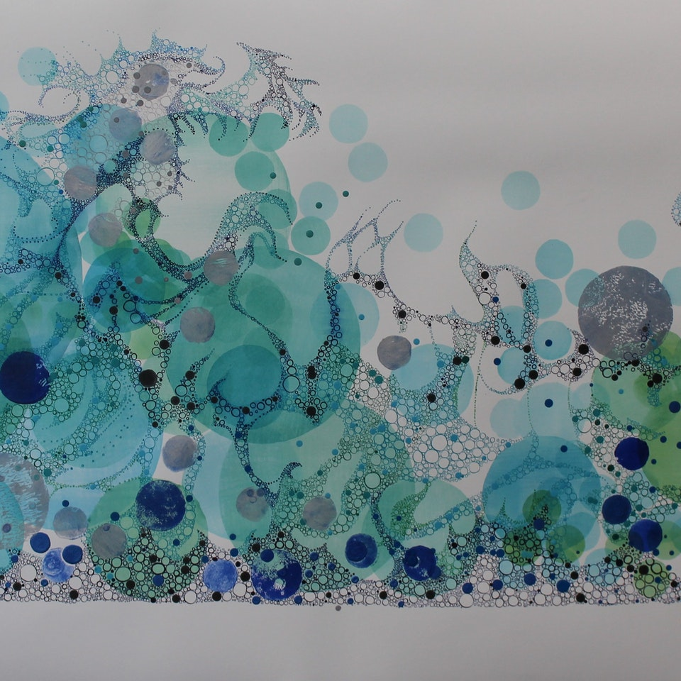 On Paper Ruth Hamill, 2017, Striving, 17x55, intaglio and calligraphy inks, gouache and watercolor on paper