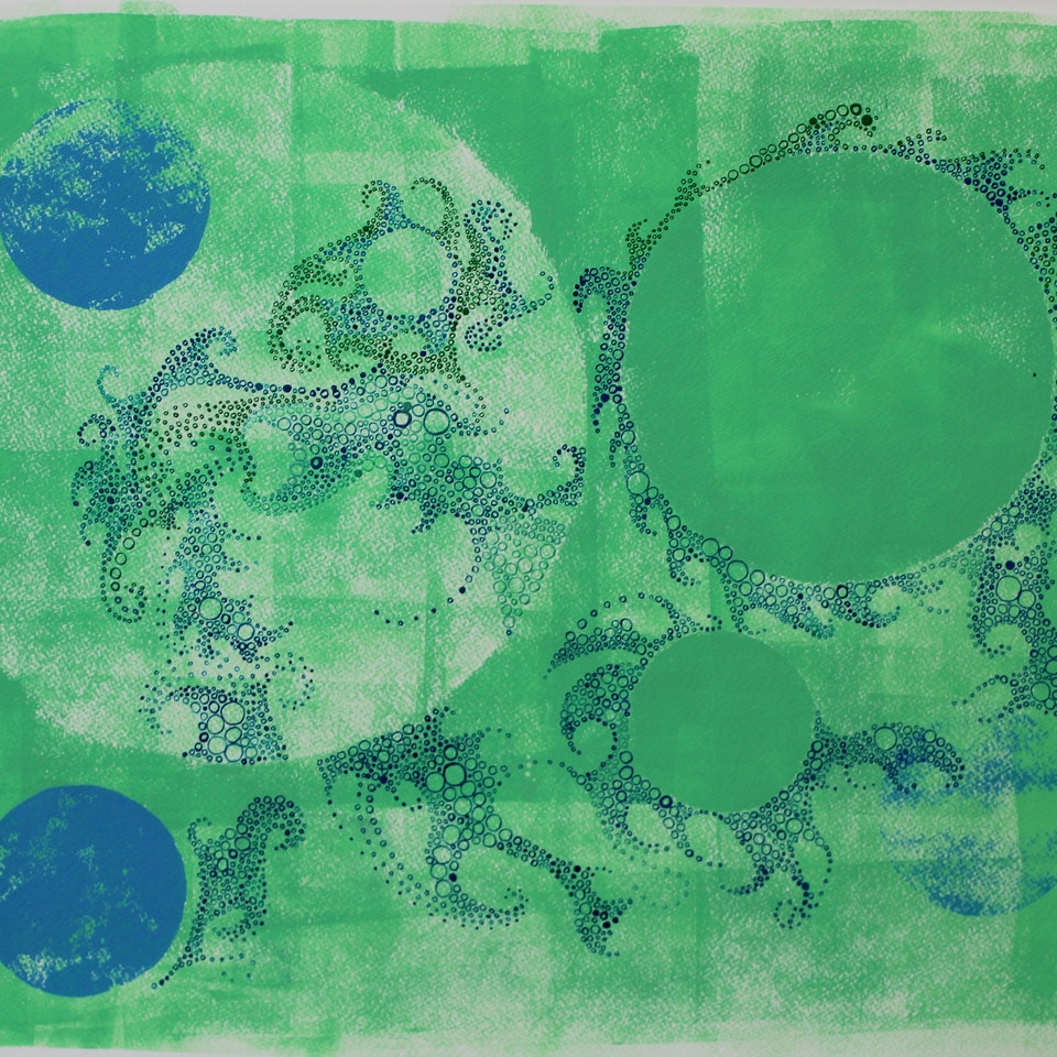 Tidal 2016 Ruth Hamill, 2017, Tides of Life I, silk-screening, relief-printing and calligraphy inks on paper (19.7106)