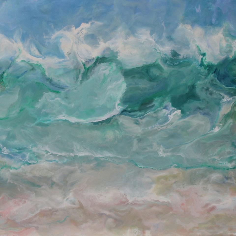 On Canvas Ruth Hamill 300, Peace, 24x52, encaustic on canvas, $5200
