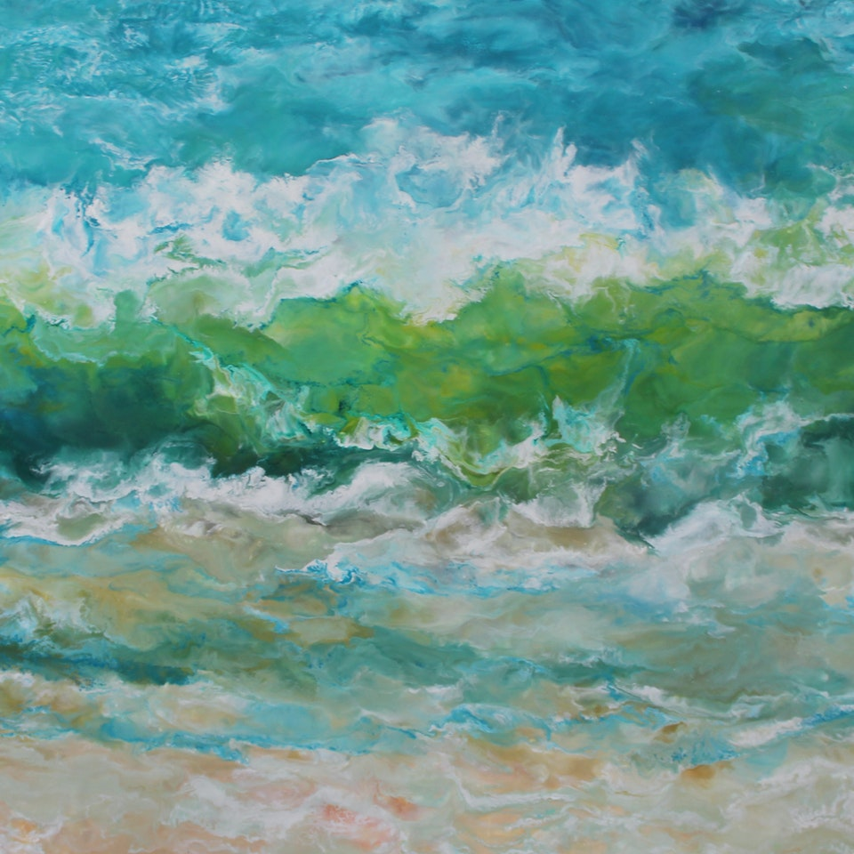 At the Shore Breakfast at the Beach, 44x60, encaustic on canvas, hi res