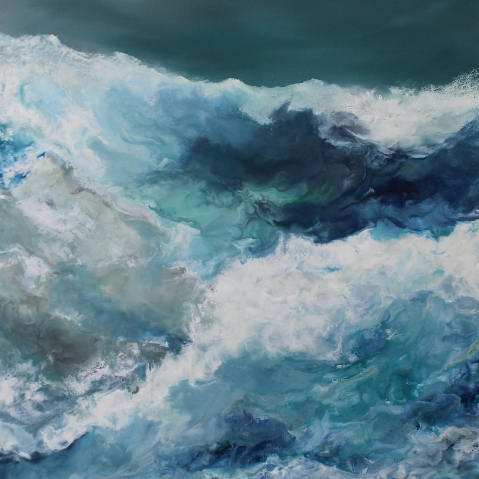 At the Shore Get Rhythm When You Get the Blues, triptych 1, 60x40 (overall 60x120), encaustic and oil on canvas, hi res