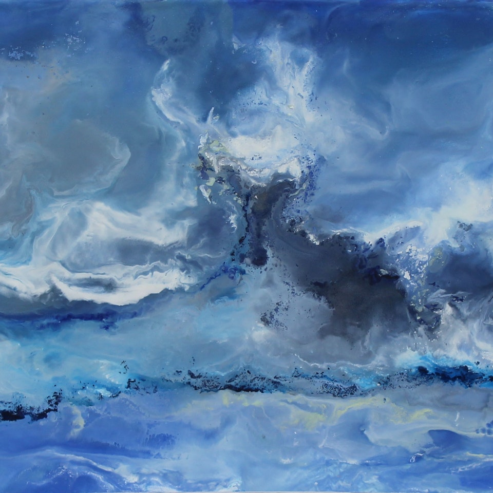 At the Shore Fresh Air, 14x40, encaustic on canvas, hi res