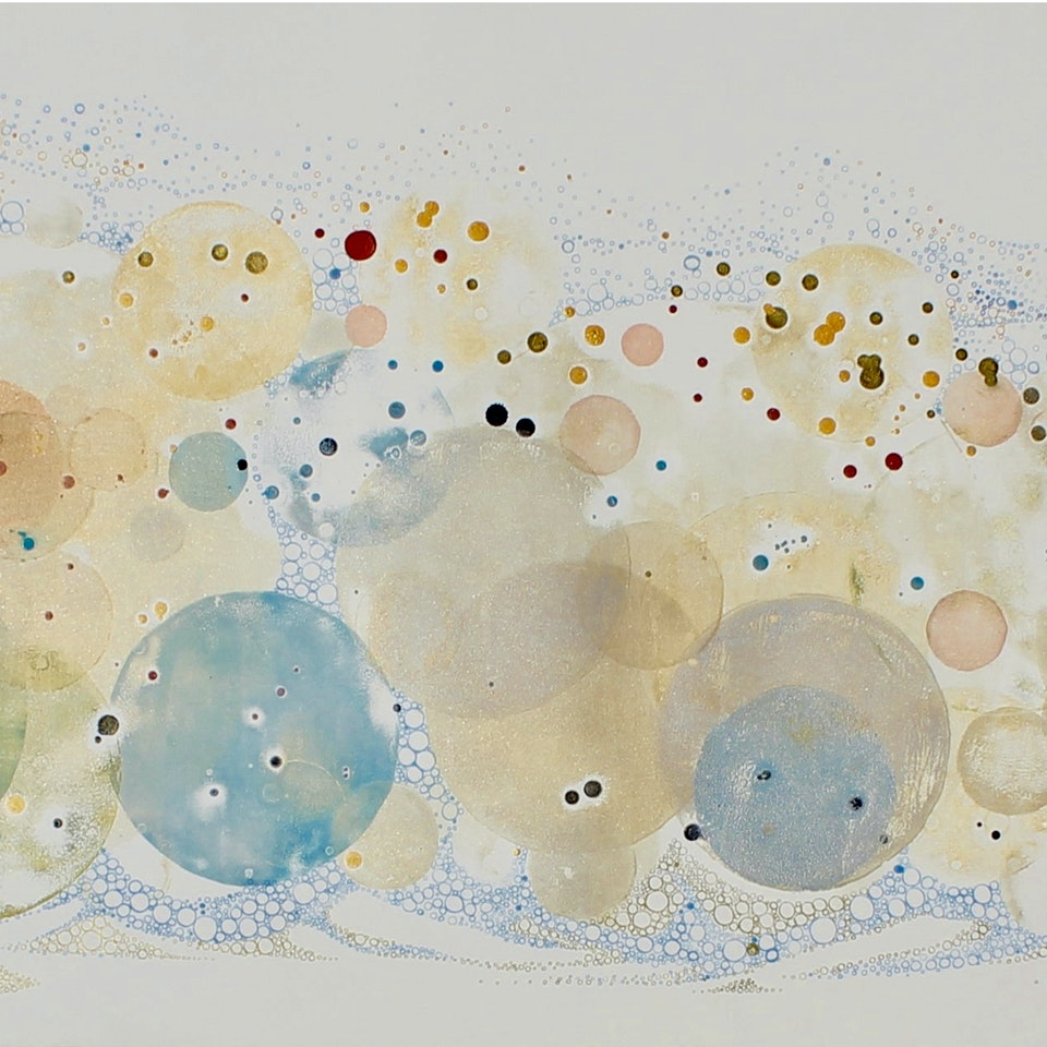 Chicago 2020 Ruth Hamill 300, The Storm Was Yesterday, relief printing, ink, calligraphy, gouache on paper, 22x60 UNFRAMED, $6900