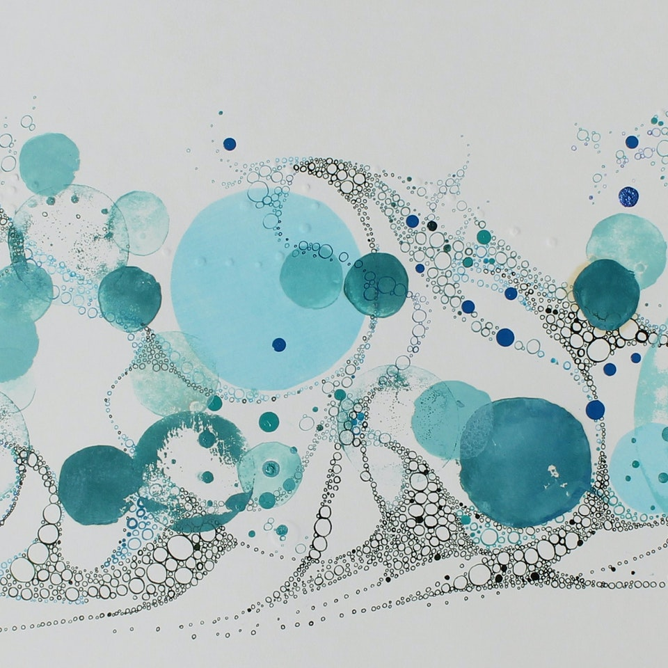 New Work on Paper Ruth Hamill 300, Alive, relief printing, ink, embossing, gouach, watercolor on paper, 16x35 framed, $1950