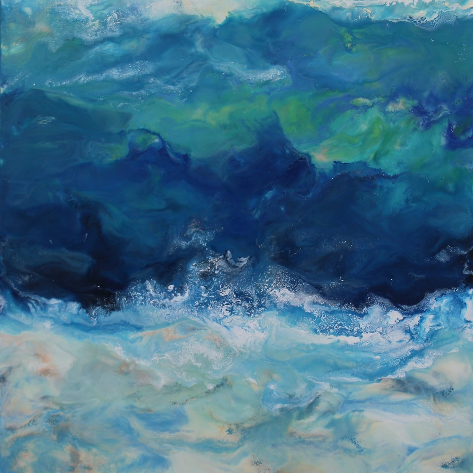 2018-2019 Work on Canvas Ruth Hamill, Float, 42x24, encaustic on canvas, $4400, 300dpi