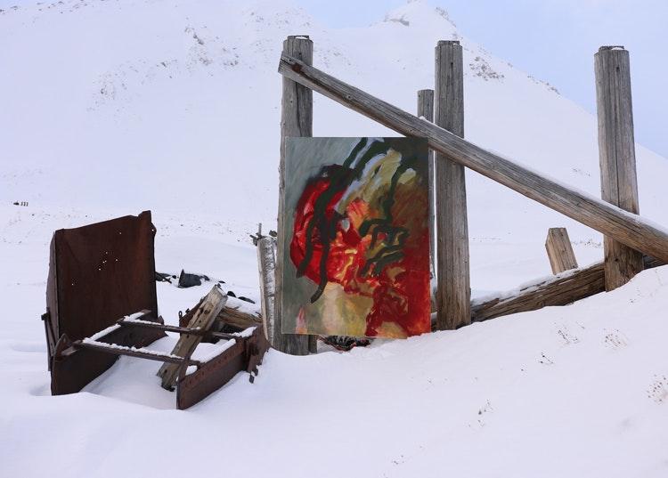 Bilde2gruve2 - Bilde 2 ved gruvene  Rester fra gruvene og maleriet fremhever hverandre.