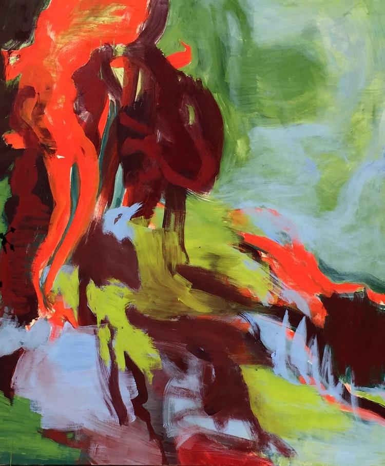 Bilde-5 - Til  dette maleriet. Orange, 140 x 115 cm  er det laget en film som viser prosessen. Musikk av Robert Francis Whitley. Se under video. https://karinordheim.no/portfolio/prosessens-klang