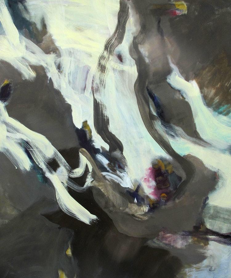 Fanget-opp - Fanget opp Bildet er malt med egg-olje-tempera på lerret. Format høyde 140 cm, bredde 115 cm. Bildet ble stillt ut på Novemberutstillingen i Lychepaviljongen ved Drammen museum.