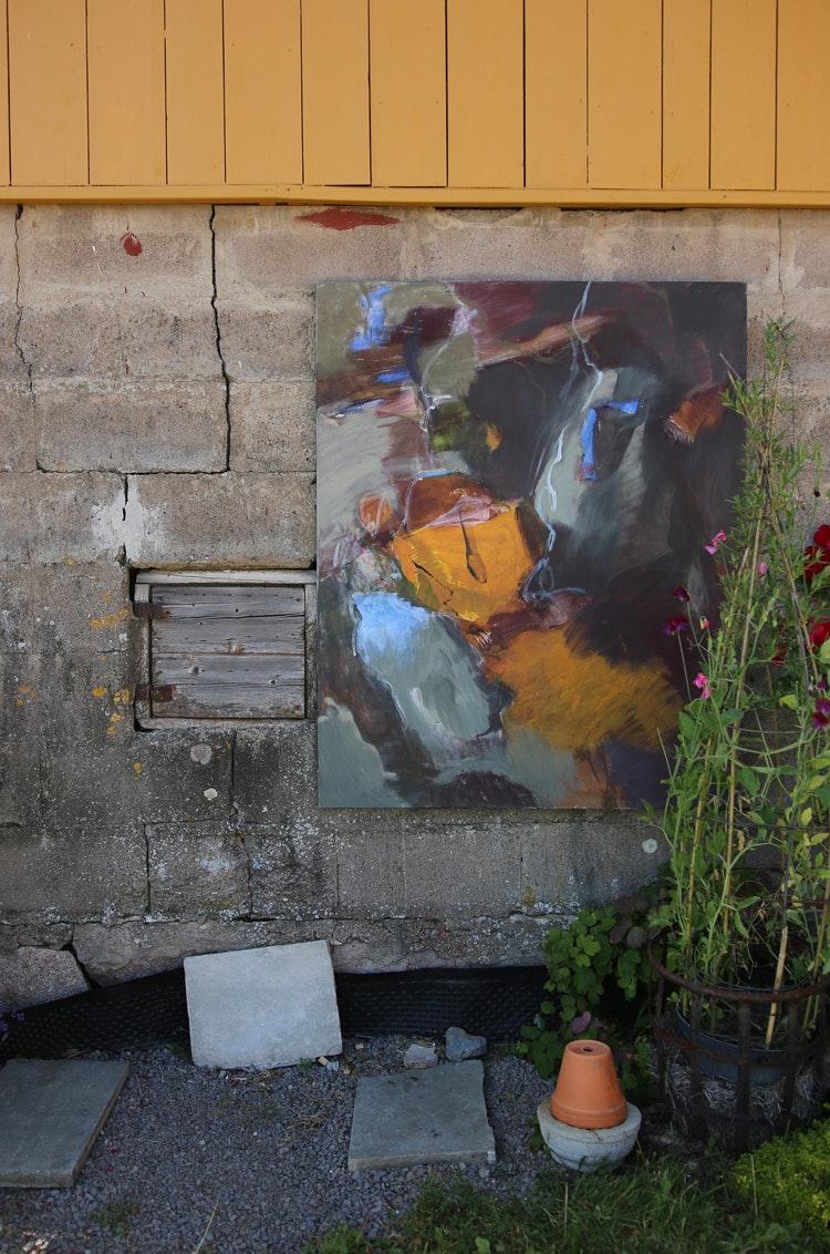 Gult hus og maleri - Gult hus og maleri 20 paintings were exhibited at a the farm Kirkerud in Nittedal. The paintings were placed in order to accentuate arkitecture and landscape.