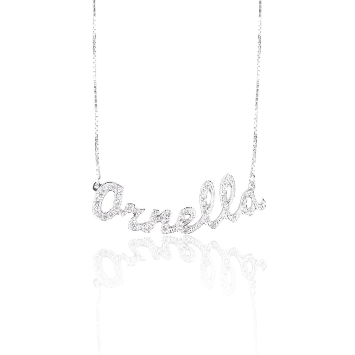 nome collana pendente zircone brillante fotografia gioielli cagliari sardegna