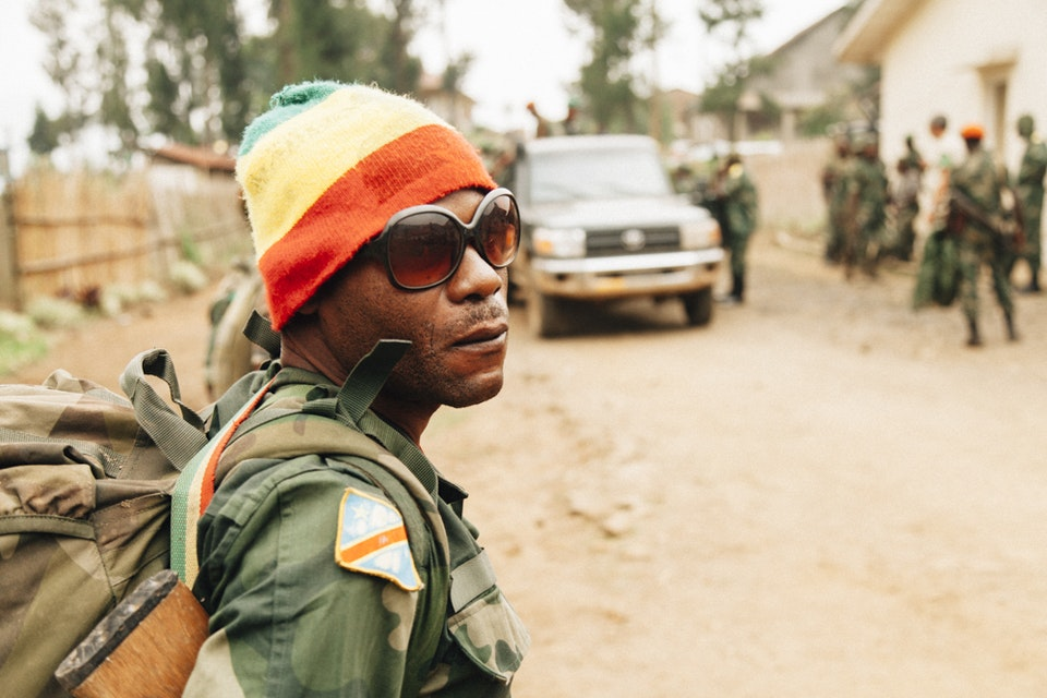 North Kivu | Democratic Republic of Congo - A FARDC soldier at the last checkpoint before the rebel controlled  area.