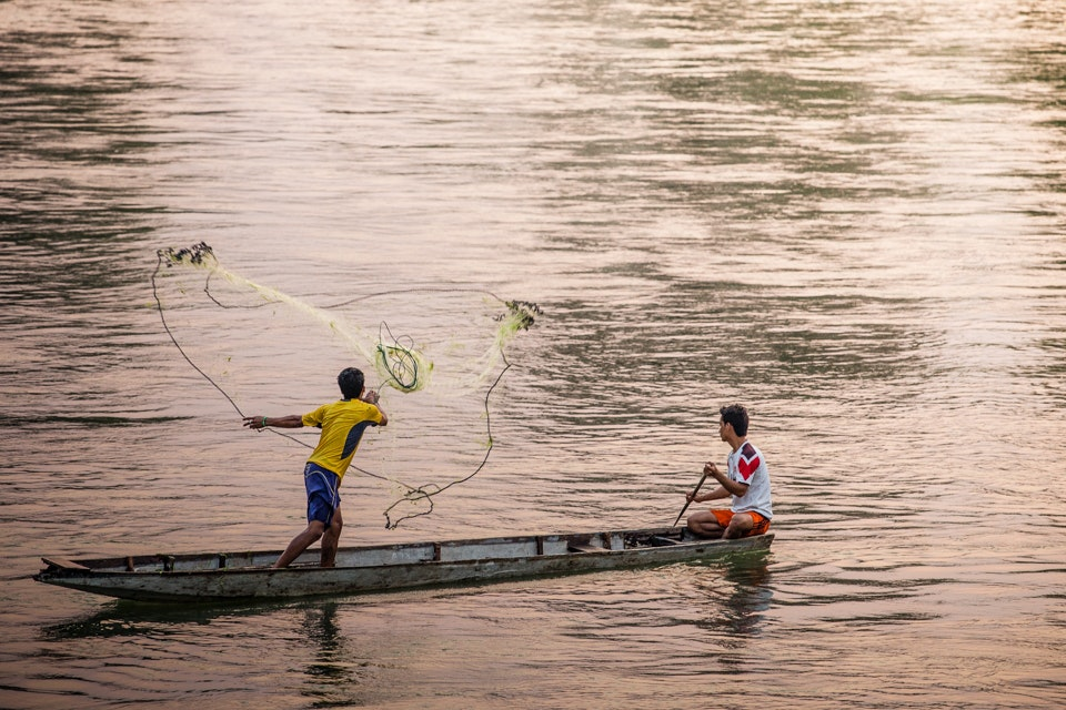 Fishermen in Don Khone, Laos