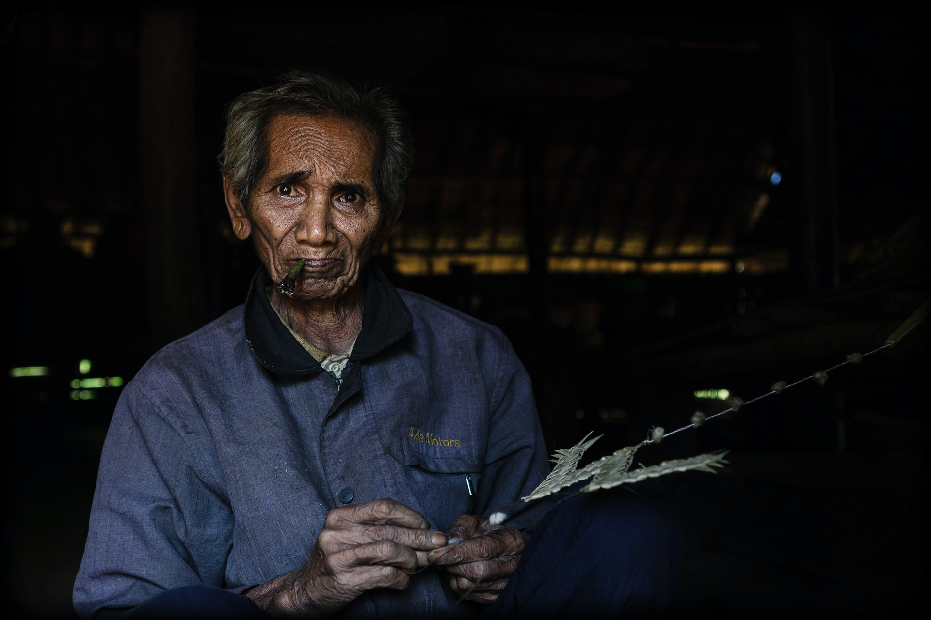 Portrait of a Bunong's man in his home in Mondulkiri, cambodia