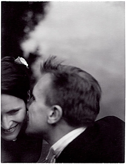 my sister lisa and her husband vincent on their wedding day, polaroid