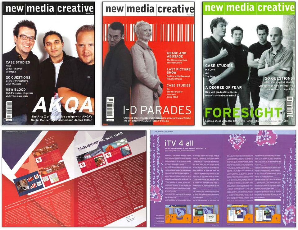 New Media Creative - <strong>New Media Creative Magazine | Reporter</strong>  Cutting my teeth as a features journalist at the height of the dotcom boom, I worked on the prestigious glossy monthly New Media Creative. I interview luminaries such as Marc Andreeson (inventor of the web browser), Ted Nelson (inventor of hypertext) and usability guru Jakob Nielsen. NMC was from the same stable as Design Week and Creative Review.  Design: Susannah Hart Publisher: Centaur