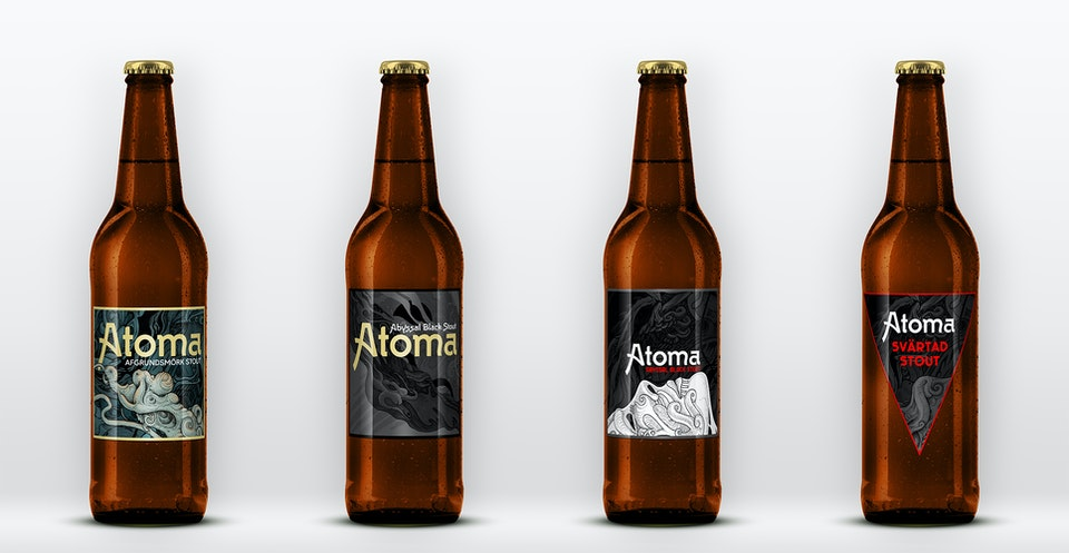 "beer_mockups_1 - Mockups for the ""Atoma"" beer, recently released by Lycke/All In Brewing (available in Sweden only)."
