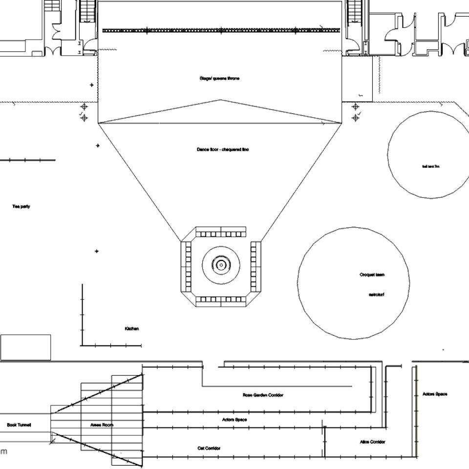 Alice's Adventures Underground LUSH - Alice event design floorplan
