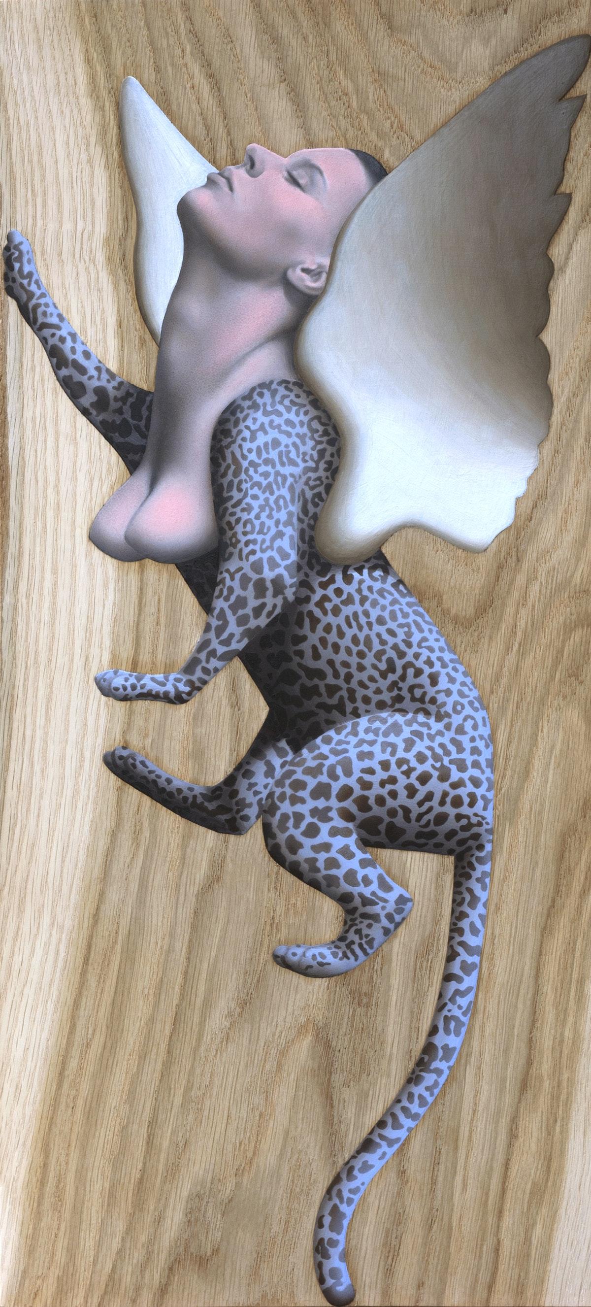 5Kle Mens, Sfinks, olej na desce, 24 x 54 cm, 2019