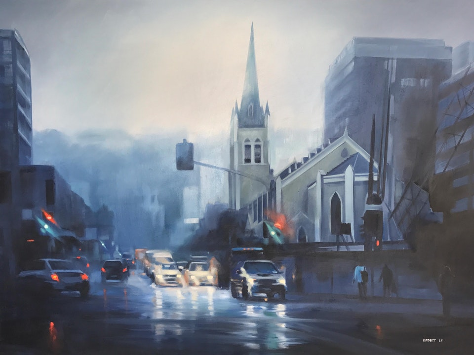 """St Peter's - Willis and Ghuznee St Wellington"" - ""St Peter's - Willis and Ghuznee St Wellington"" 1010mm x 760mm  oil on canvas 2017"