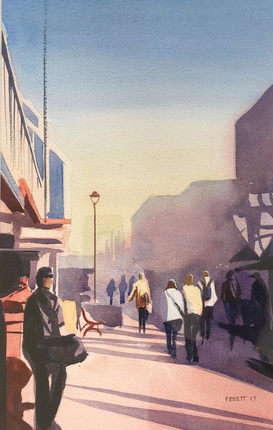 Walking-Down-Cuba - 'Walking Down Cuba' Watercolour. 610mm x 440mm  **SOLD**