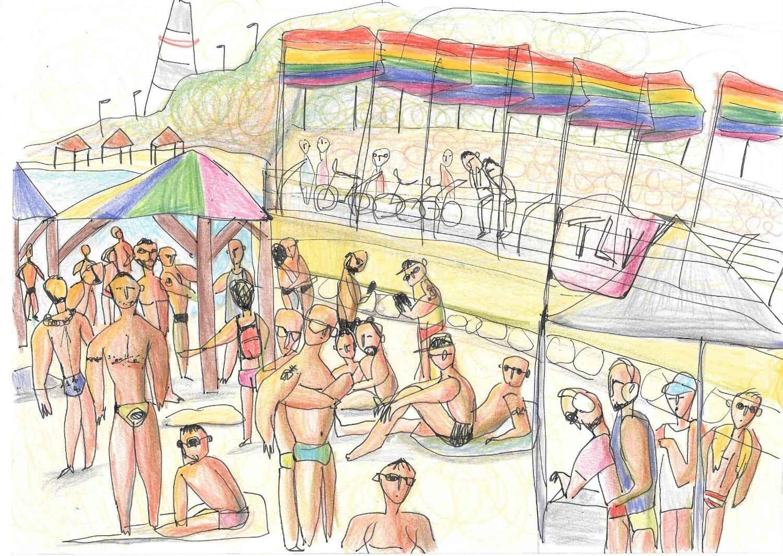 Einat Aloni - Pride at Hilton Beach, pastel on paper, 30X20 cm