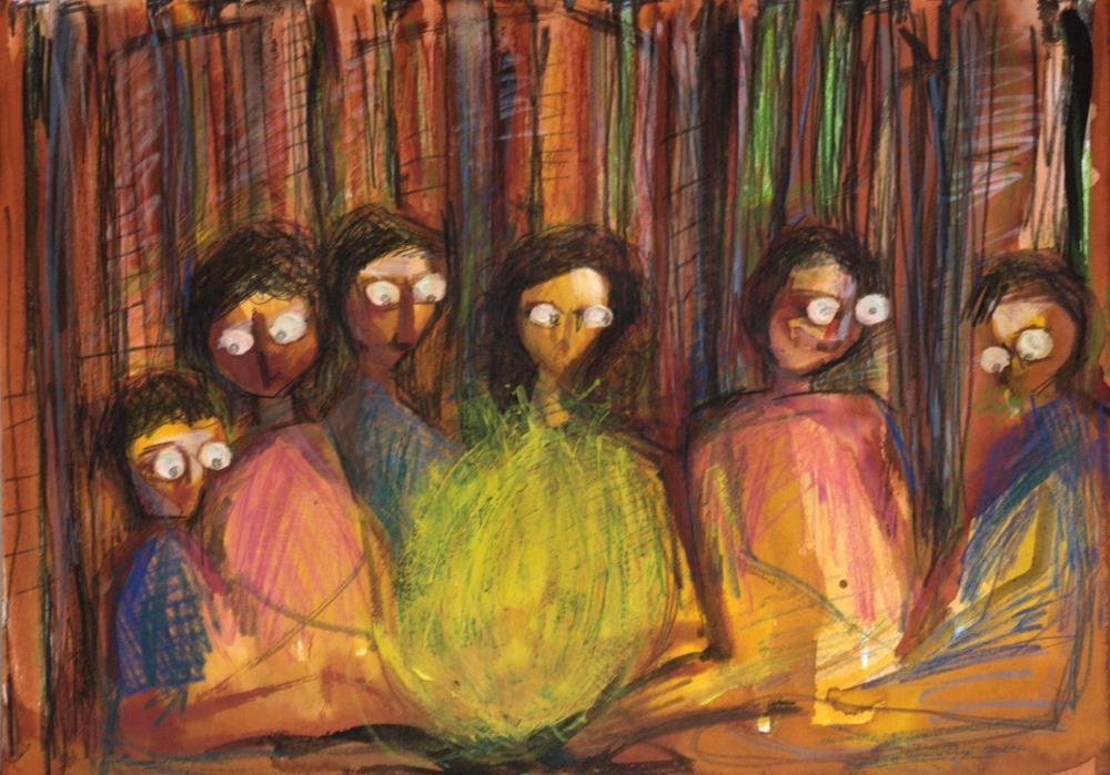 Einat Aloni - mixed media on paper, 40X30 cm