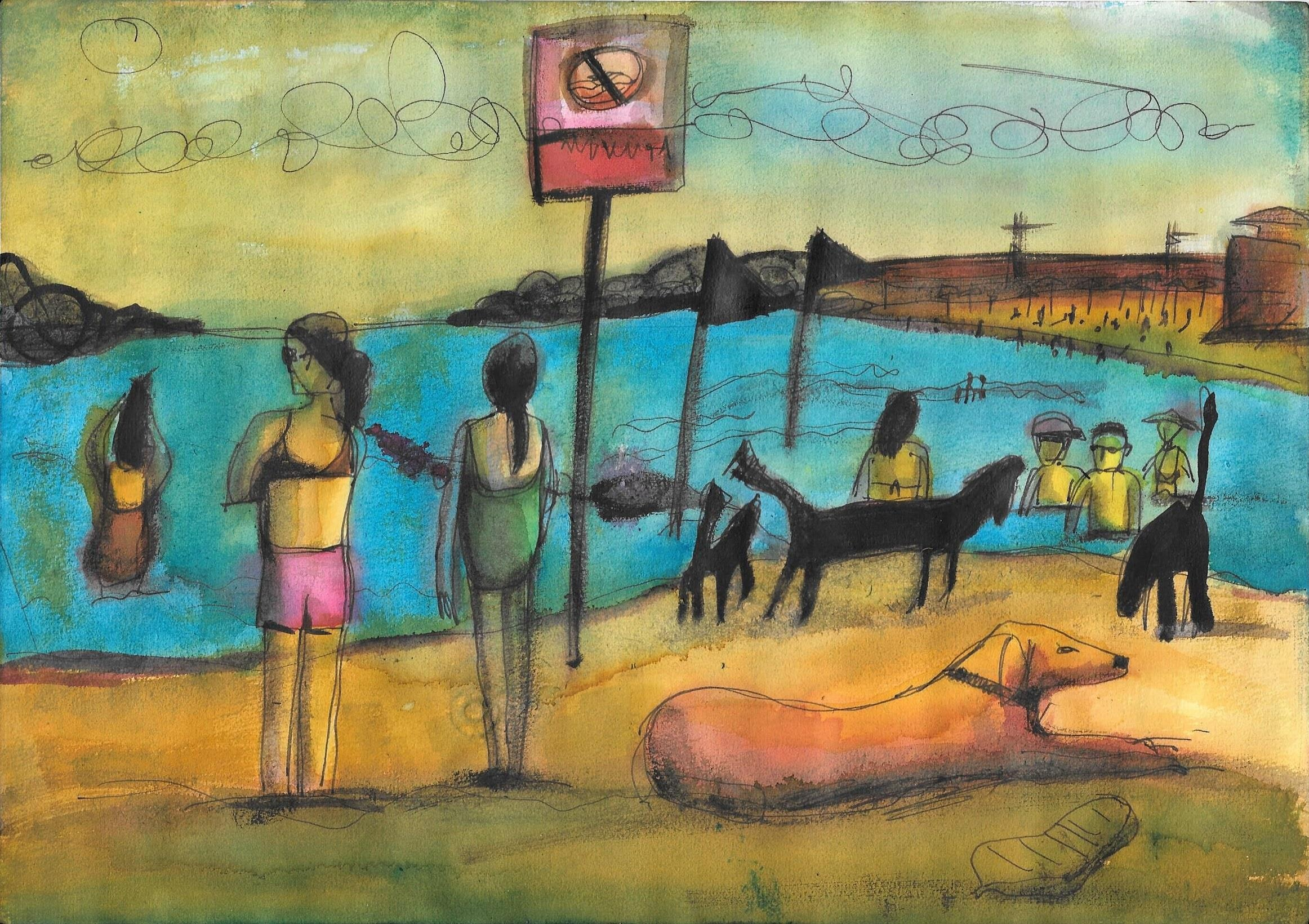 Einat Aloni - The beach, mixed media on paper, 30X20 cm