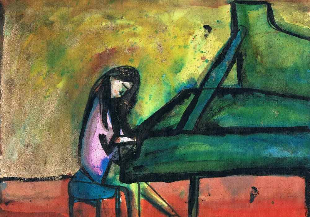 Einat Aloni - The pianist, Watercolor on paper, 30X20 cm