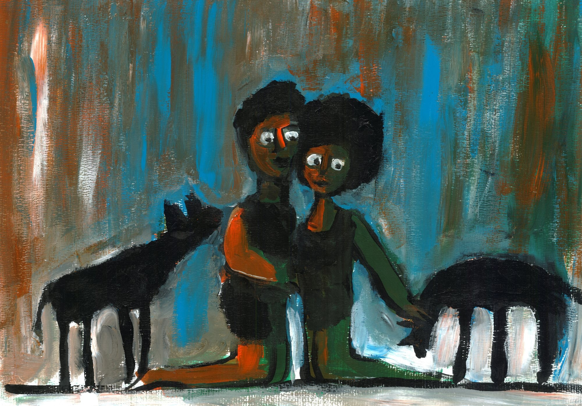 Einat Aloni - The couple and the wolves, acrylic on paper, 50X35 cm